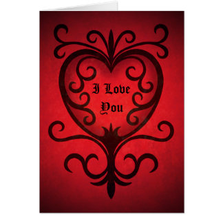 Black scrollwork heart on red I love you Card