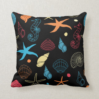 Black Sea Nature Pattern Pillow