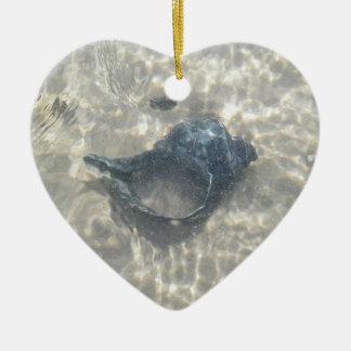 Black Seashell Season's Greetings Ornament