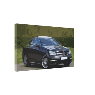 Black Sedan Car in Front of a Forest Background Canvas Print