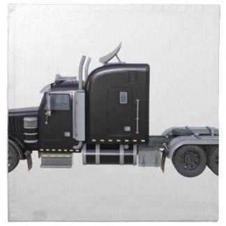 Black Semi Tractor Trailer in Side Profile Napkin