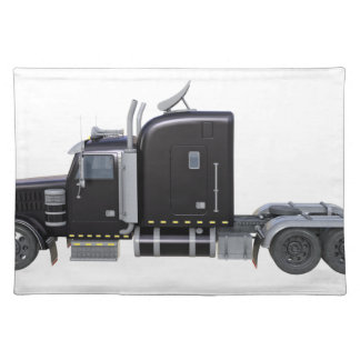 Black Semi Tractor Trailer in Side Profile Placemat