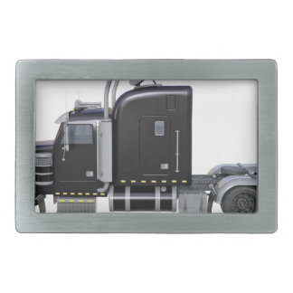 Black Semi Tractor Trailer in Side Profile Rectangular Belt Buckle