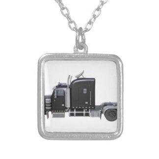 Black Semi Tractor Trailer in Side Profile Silver Plated Necklace