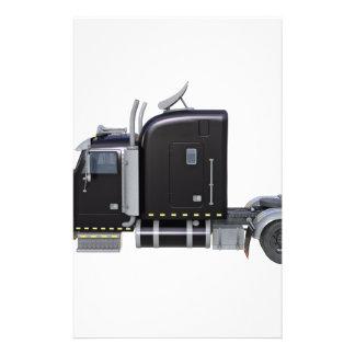 Black Semi Tractor Trailer in Side Profile Stationery
