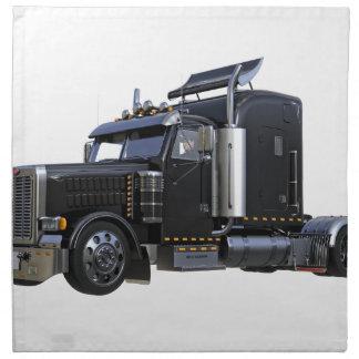 Black Semi Tractor Trailer Truck Napkin
