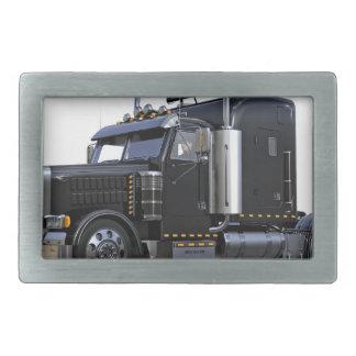 Black Semi Tractor Trailer Truck Rectangular Belt Buckle