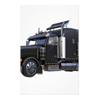 Black Semi Tractor Trailer Truck Stationery