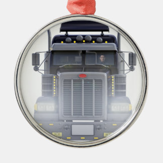 Black Semi Tractor Trailer Truck With Headlights Metal Ornament