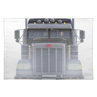 Black Semi Tractor Trailer Truck With Headlights Placemat