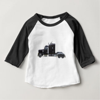 Black Semi Truck with Full Lights In Side View Baby T-Shirt