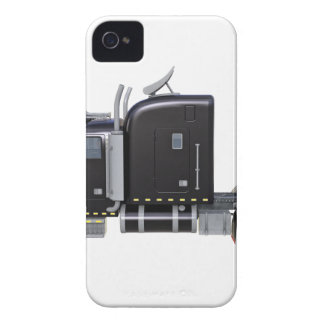 Black Semi Truck with Full Lights In Side View iPhone 4 Cases