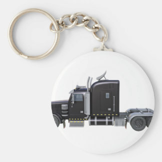 Black Semi Truck with Full Lights In Side View Key Ring