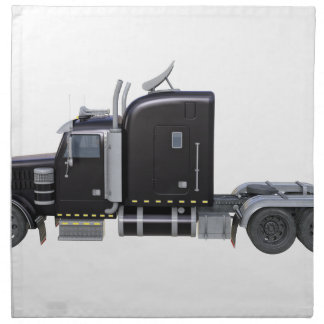 Black Semi Truck with Full Lights In Side View Napkin