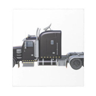 Black Semi Truck with Full Lights In Side View Notepad