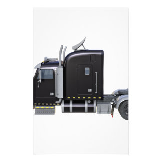 Black Semi Truck with Full Lights In Side View Stationery