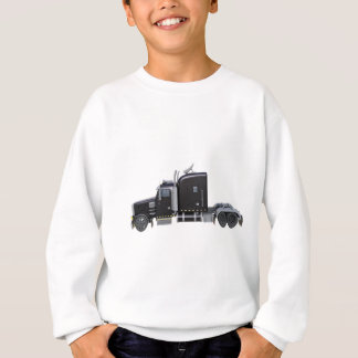 Black Semi Truck with Full Lights In Side View Sweatshirt