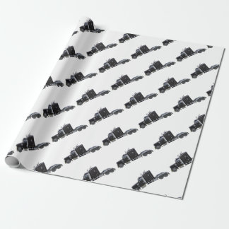 Black Semi Truck with Full Lights In Side View Wrapping Paper