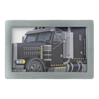 Black Semi Truck with Lights On in A Three Quarter Belt Buckle