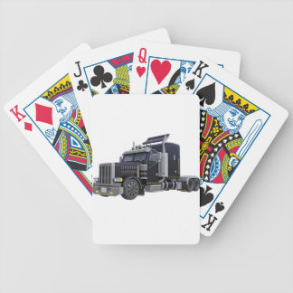 Black Semi Truck with Lights On in A Three Quarter Bicycle Playing Cards