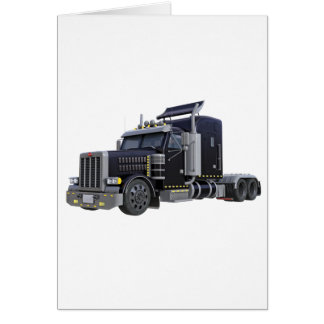 Black Semi Truck with Lights On in A Three Quarter Card