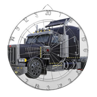 Black Semi Truck with Lights On in A Three Quarter Dartboard
