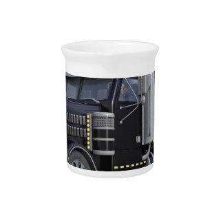 Black Semi Truck with Lights On in A Three Quarter Drink Pitcher