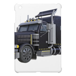 Black Semi Truck with Lights On in A Three Quarter iPad Mini Cover