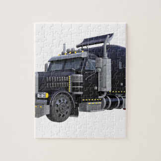 Black Semi Truck with Lights On in A Three Quarter Jigsaw Puzzle