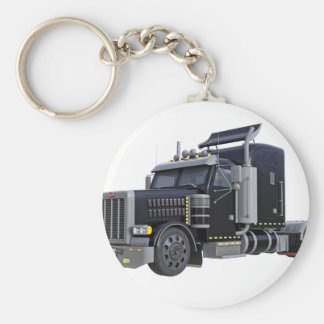 Black Semi Truck with Lights On in A Three Quarter Key Ring