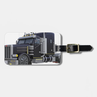 Black Semi Truck with Lights On in A Three Quarter Luggage Tag