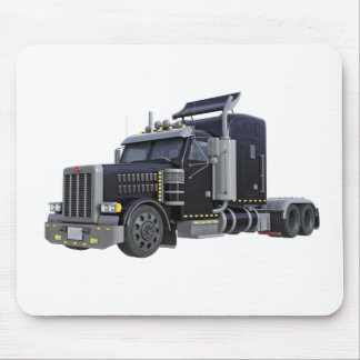 Black Semi Truck with Lights On in A Three Quarter Mouse Pad