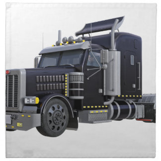 Black Semi Truck with Lights On in A Three Quarter Napkin