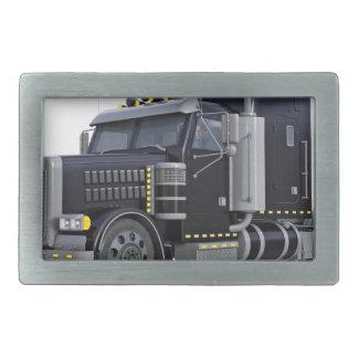Black Semi Truck with Lights On in A Three Quarter Rectangular Belt Buckle