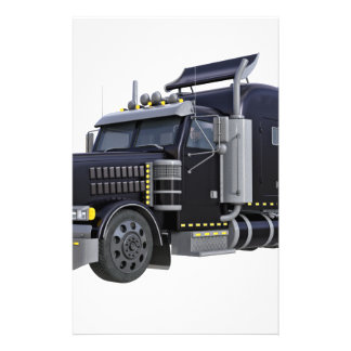 Black Semi Truck with Lights On in A Three Quarter Stationery