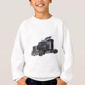 Black Semi Truck with Lights On in A Three Quarter Sweatshirt