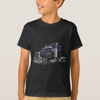 Black Semi Truck with Lights On in A Three Quarter T-Shirt