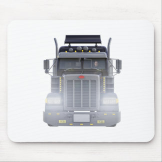 Black Semi Truck with Lights On in Front View Mouse Pad