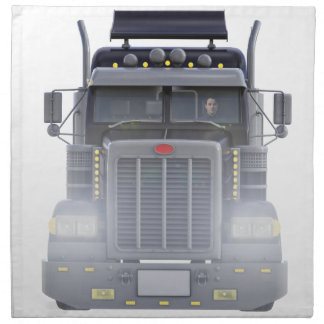 Black Semi Truck with Lights On in Front View Napkin