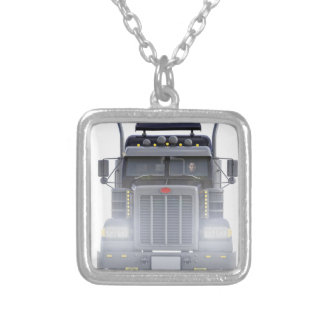 Black Semi Truck with Lights On in Front View Silver Plated Necklace