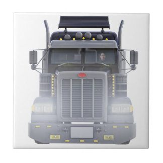Black Semi Truck with Lights On in Front View Small Square Tile