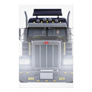 Black Semi Truck with Lights On in Front View Stationery