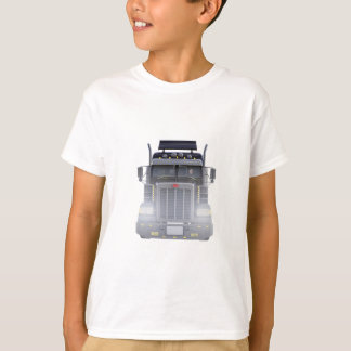 Black Semi Truck with Lights On in Front View T-Shirt