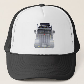 Black Semi Truck with Lights On in Front View Trucker Hat