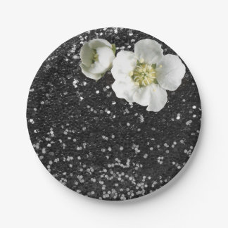 Black Sequin Floral White Jasmine Glitter Paper Plate