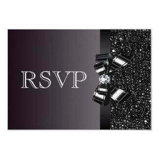 Black Sequins, Bow & Diamond RSVP Wedding 9 Cm X 13 Cm Invitation Card