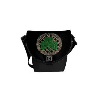 Black Shamrock And Celtic Knots Mini Messenger Bag