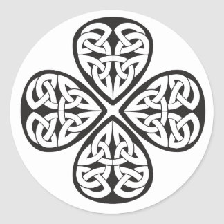black shamrock celtic knot classic round sticker