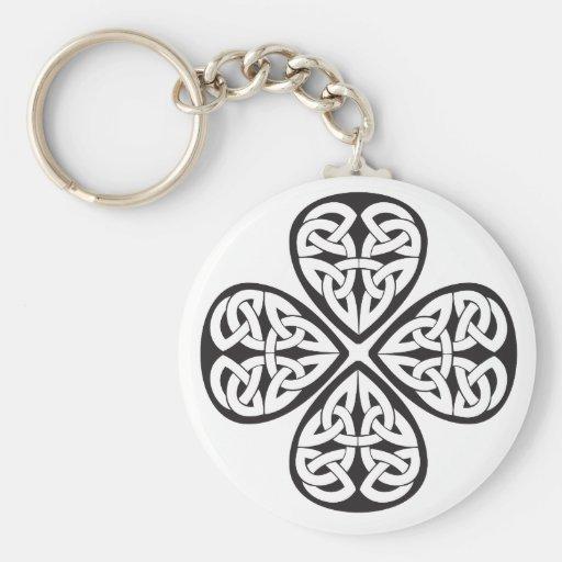black shamrock celtic knot key chains