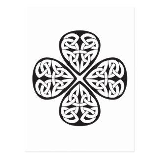 black shamrock celtic knot post card